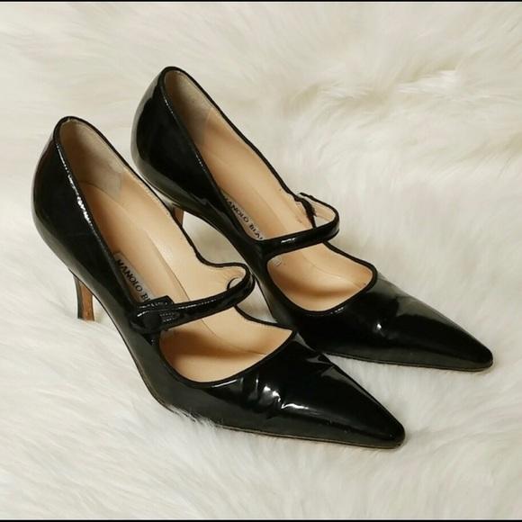 47cd506a15e4b Manolo Blahnik Shoes | Black Patent Campari Mary Jane 38 | Poshmark